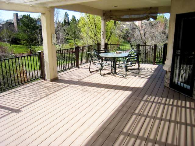 beautiful deck with patio furniture